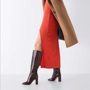 Zara cow leather animal print heeled boots